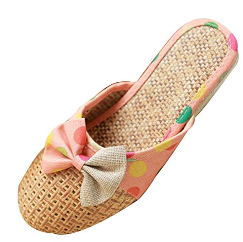 Blubi Womens Summer Bows Linen Skid-proof House Slippers Pink fbyuX