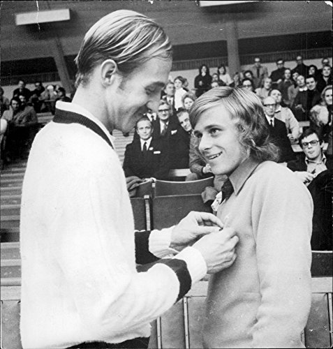 Vintage photo of The tennis player Bj246;rn Borg receives SvD's Gold Fackla 1972 by Stan Smith