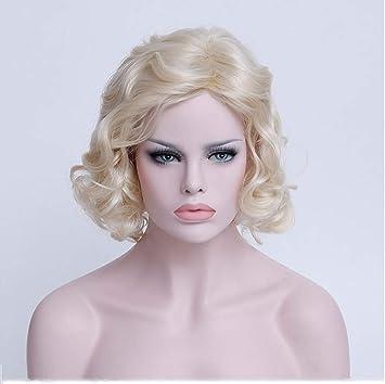 Marilyn Monroe Peluca rubia corta Peluca de pelo sintético dorado de pelo corto y rizado