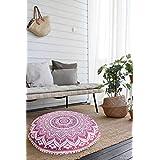 GANESHAM Indian Round Mandala Pillow Throw, Handmade Boho Decor, Hippie Round Seating Pouf Ottoman, Mandala Tapestry, Mandala Floor Pillow, Indian Cushion Meditation Gypsy