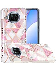 Miagon Soft Marble Case for Xiaomi Mi 10T Lite,Electroplating Glossy Marble Splice Design Ultra Thin Slim TPU Soft Back Rubber Silicone Anti-Scratch Cover,Pink White