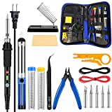 Craftsboys Soldering Iron Kit Electronics, 60W Adjustable Temperature Welding Tool, 5pcs Soldering Tips, Desoldering Pump, Soldering Iron Stand, Tweezers