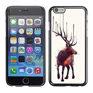 TopCaseStore / la caja del caucho duro de la cubierta de protección de la piel - Moose Art Nature Animal Wild Forest Painting - Apple iPhone 6