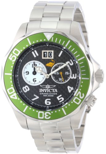 (Invicta Men's 14443 Pro Diver Black Carbon Fiber Dial Stainless Steel Watch)