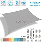 Patio Paradise 10' x 18' Sun Shade Sail with 8 inch Hardware Kit, Light Grey Rectangle Patio Canopy Durable Shade Fabric Outdoor UV Shelter Cover - 3 Year Warranty - Custom Size Available