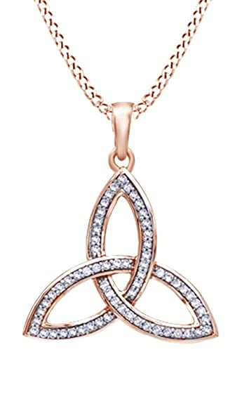 Amazon affy white natural diamond celtic trinity knot pendant amazon affy white natural diamond celtic trinity knot pendant necklace in 10k rose gold 025 cttw jewelry aloadofball Gallery