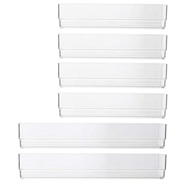 STORi Clear Plastic Vanity, Desk and Kitchen Drawer Organizers | 6 Piece Set