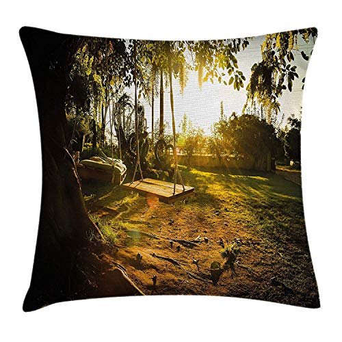 DDBACK Landscape Throw Pillow Cushion Cover, Natural Park Playground Swings Trees Tranquil Scene in Spring Childhood Theme, Decorative Square Accent Pillow Case, 18 X 18 Inches, Marigold Green