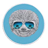 iPrint Thick Round Beach Towel Blanket,Sloth,Portrait of Sloth with Mirror Sunglasses Exotic Palm Trees Hawaiian Beach Hipster,Grey Blue Aqua,Multi-Purpose Beach Throw