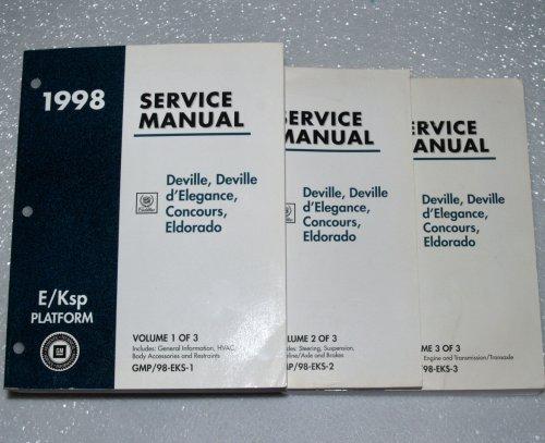 1998 Cadillac Deville, d'Elegance, Concours, Eldorado Service Manuals (GM E/Ksp Platform, 3 Volume Set)