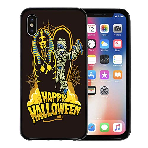 Emvency Phone Case for Apple iPhone Xs case,Coffin Halloween Mummy Out from Sarcophagus Dracula Egypt October for iPhone X Case,Rubber Border Protective Case,Black