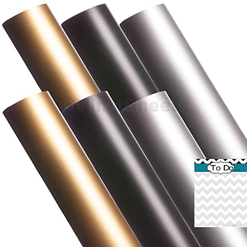 A2M316 12 x 12 Inches Gold Black Silver 2 sheets of each color Matte Removable Indoor Adhesive Backed Vinyl Sheets Rolls for Personal Craft Vinyl Cutters make Wall Decals Vinyl Lettering Stickers at home