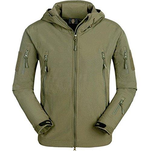 (Eglemall Men's Outdoor Hunting Soft Shell Waterproof Tactical Fleece Jackets (Large, Green))