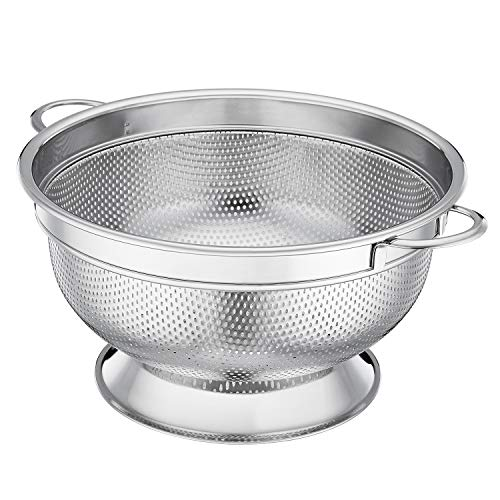 Dishwasher Colander Plastic Safe (LIANYU Stainless Steel Colander, Micro-perforated 5-Quart Colander Strainer with Handles and Stand, Durable and Rust Free - Dishwasher Safe)