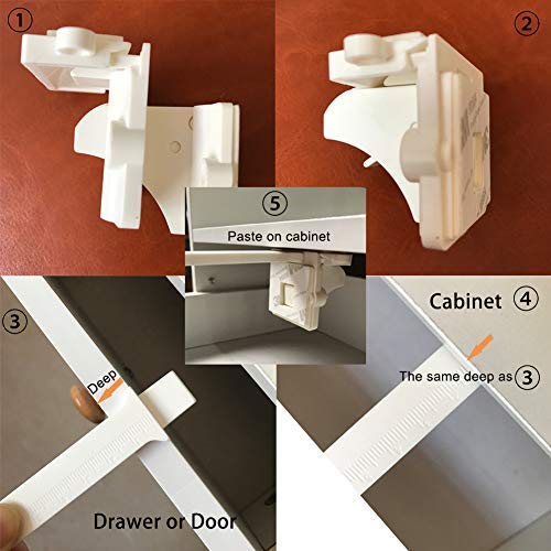 Baby Safety Magnetic Cabinet Locks-Child Safety Proof Cabinet & Drawers Locking System-No Tools Needed(12 Locks + 2 Keys, White) by Ribee (Image #2)