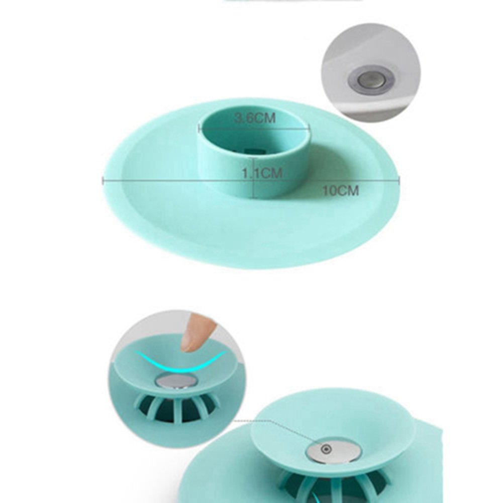 3pcs Rubber Push Type Tub Drain Stopper, Professional Bathroom Hair Catchers Strainer Protector, Blue, Dark Green, Light Green