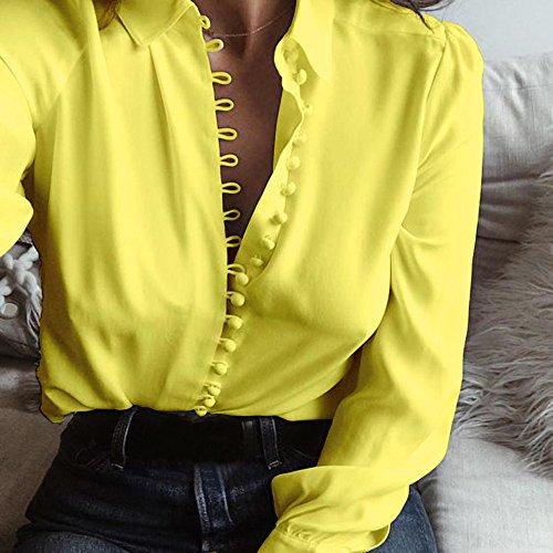 Blouse Col Chemisiers Blouses Shirt Femme Couleur Grande Solide Jaune Weant Blouse V Femme Manche Taille Chemise et Casual Tops Shirt Femme Tee Longue wpqx80U
