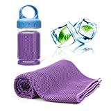 CKSOHOT Instant Cooling Towel for Neck, with Carrying Bottle, 40'x12', Used as Cool Scarf Headband Wristband Bandana, Evaporative Chilly Sport Towel for Hiking Climbing Golf Fitness Yoga
