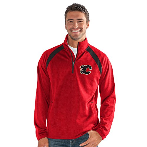 G-III Sports NHL Calgary Flames Adult Men High Impact Half Zip Pullover, XX-Large, Red