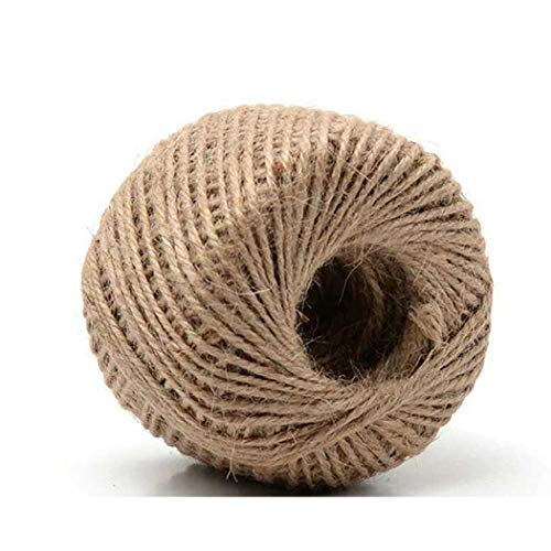 3 Ply Hemp (SIPLIV 2mm Retro Woven Jute Twine String 3-Ply 100 Meter Hemp Rope Cord Photo Frame Wall Decor, Tag, Gifts Wrapping, Wedding Decoration, Gardening Projects)