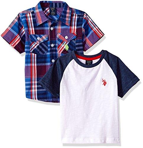 U.S. Polo Assn. Boys' Little Short Sleeve Woven T-Shirt Set, Stripe Color Block el Multi Plaid, 5/6