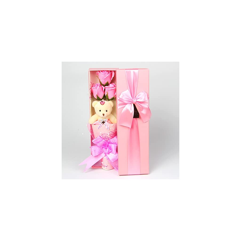 Abbie-Home-Flower-Bouquet-3-Scented-Soap-Roses-Gift-Box-with-Cute-Teddy-Bear-Birthday-Mothers-Day-Valentines-Present
