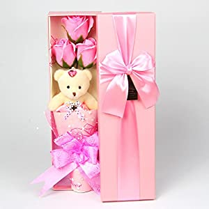 Abbie Home Flower Bouquet 3 Scented Soap Roses Gift Box with Cute Teddy Bear Birthday Mother's Day Valentine's Present 66