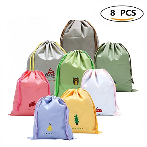 8 PCS Packing Organiser Drawstring Bags for Travel, Luggage Bag Toiletry Pouch
