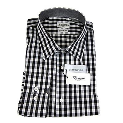 Black White Mens 100% Cotton Comfort Fit Plaid Dress Shirt