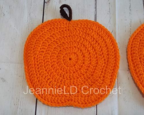 Crocheted Pumpkin Pot Holders/Hot Pads - Set of 2