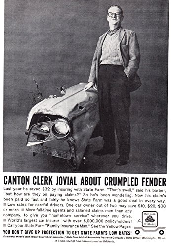 1961 State Farm  Canton Clerk Jovial About Crumpled Fender  State Farm Insurance Print Ad