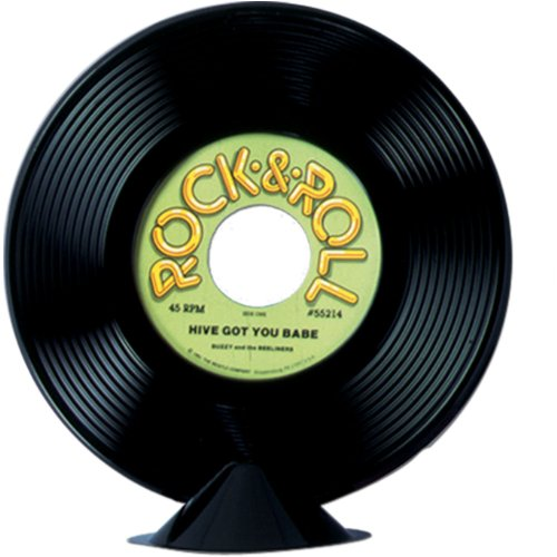 Plastic Record Centerpiece Party Accessory (1 count) (Halloween Music Theme)