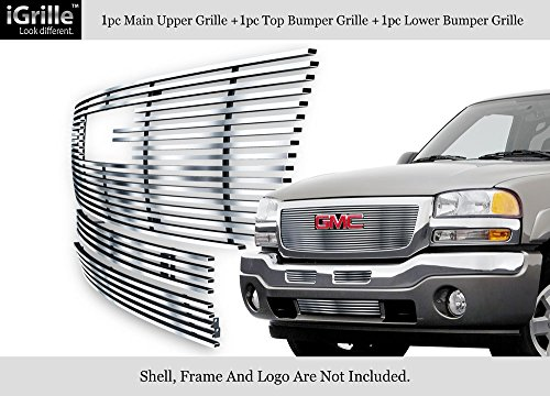 APS 304 Stainless Steel Billet Grille Grill Combo Compatible with 03-06 GMC Sierra 1500 2500HD 3500 G67926C