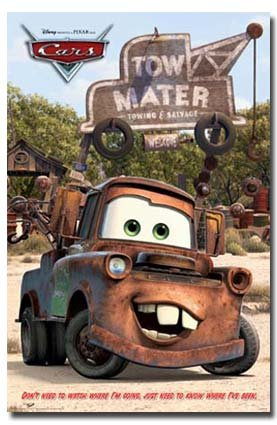 DISNEY CARS MOVIE POSTER Mater RARE HOT NEW 24X36 (Disney Movie Poster Cars)