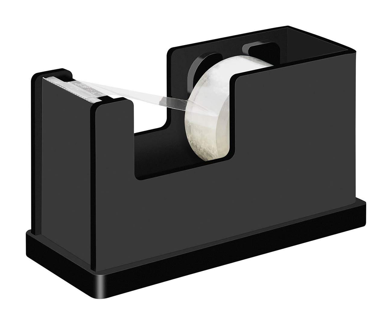 inkl Klebefilm 4 x 7 cm f/ür Rollen bis 19 mm x 33 M Gummif/ü/ße Schwarz 11 im Geschenkkarton Wedo 639001 Klebefilmabroller Black Office Acrylglas