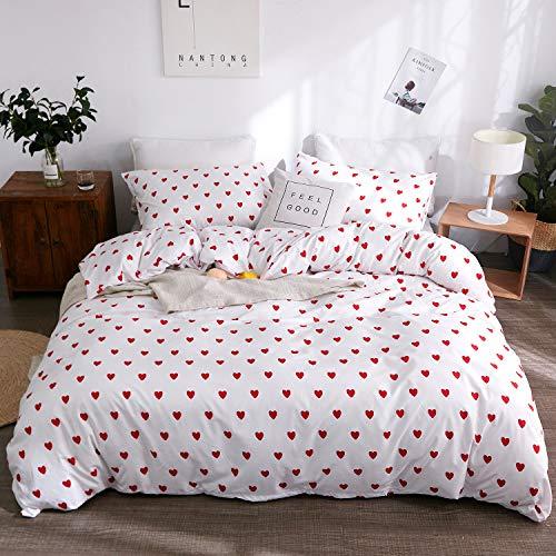 (LAMEJOR Duvet Cover Sets King Size Red Heart Shape Patterns Bedding Set Comforter Cover (1 Duvet Cover+2)
