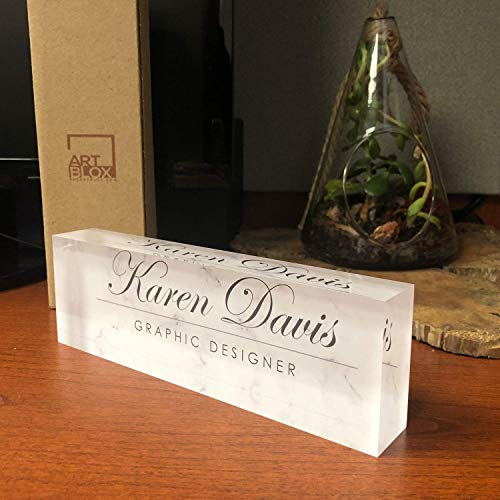 Desk Name Plate Personalized Name & Title, White Marble Design Printed on Premium Clear Acrylic Glass Block Custom Office Decor Home Accessories Desk Nameplate Unique Customized Appreciation Gifts