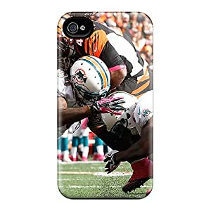 Shock-Absorbing Hard Cell-phone Cases For Iphone 4/4s With Allow Personal Design Vivid Miami Dolphins Pattern KaraPerron