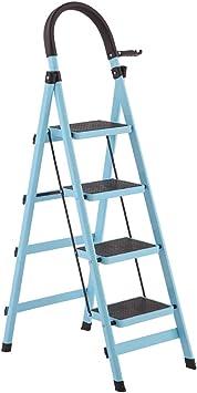 Escaleras Escalera plegable portátil de acero de 5 pasos, Escalera de extensión, Escalera de tijera de metal plegable, Escalera telescópica, Escalera de tijera de loft de jardín, Oficina de usos múlti: Amazon.es: