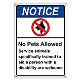 Weatherproof Plastic Vertical ANSI NOTICE No Pets Allowed Service Animals Welcome Sign with English Text and Symbol