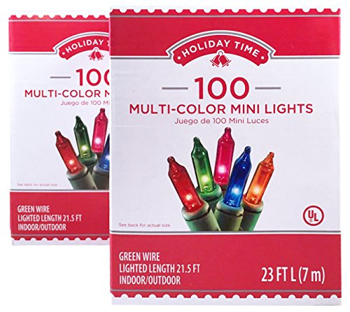 Holiday Time 100 Multi-Color Mini Lights - Green Wire (2 Pack)
