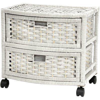 Oriental Furniture 16 Natural Fiber Occasional Chest of Drawers - White by ORIENTAL FURNITURE - Natural Fiber Occasional Chest