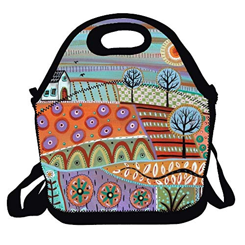 - Feddiy Lively Landscape Folk Art Lunch Bag Picnic Lunch Tote For Work, Picnic, Travelling