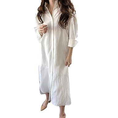 VECDY - Vestido de Verano para Mujer, de Color Liso, con Botones ...