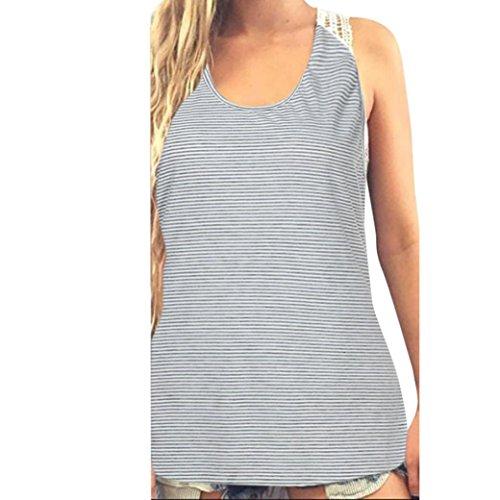 Napoo Women Summer Striped Lace Back Hollow Vest Tank Tops T-Shirt (M, Light Gray)