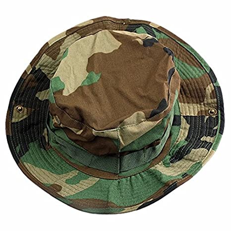 squaregarden Military Camo Adjustable Boonie Hat Hunting Bucket Hats    Woodland Camo eff80b99962b