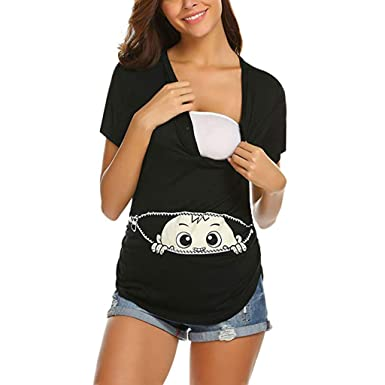 ba00e01bd3172 Luonita Womens Maternity Top T-Shirt Solid Baby Print Button Short Sleeve  Pull-up