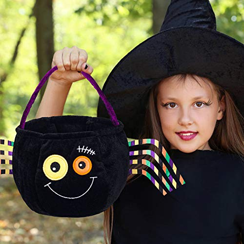 (Halloween Pumpkin Personalized Basket Kid's Trick or Treat Bag for Halloween Party Costumes Flannelette-Spider/11)