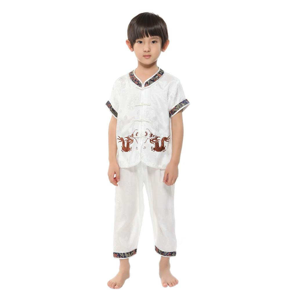 Kids Martial Arts Kung Fu Short Sleeve Suit Dragon Totem Uniform Hanfu Cosplay Costume GOWE Boys Chinese Tang Suit