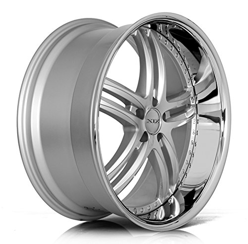 XIX XIX15 Satin Silver Wheel with Machined Finish and Stainless Steel Chrome Lip (20x8.5/5x114.3mm, 32mm Offset)